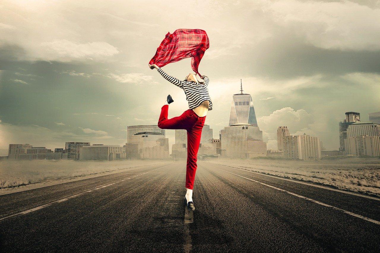 freedom, woman, road